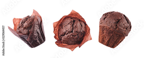 Fototapeta Different angles of Fresh Homemade Chocolate Muffin Cake On White Background. obraz