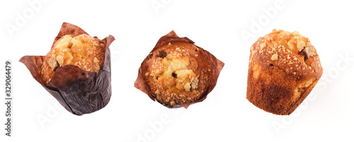 Obraz na plátně Different angles of chocolate chip muffins Isolated On White Background