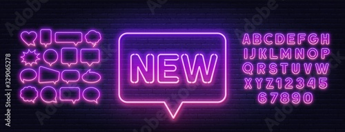 Fototapeta Neon sign new on a brick wall background. Bright gradient neon font and speech bubble frame. Template for design. obraz na płótnie