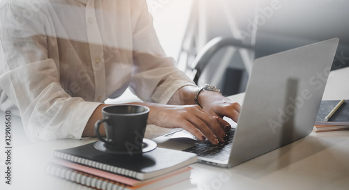 Obraz Business working in office with documents and laptop people Consulting and business planning. - fototapety do salonu