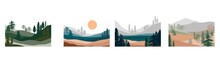 Set Of Abstract Landscape. For...