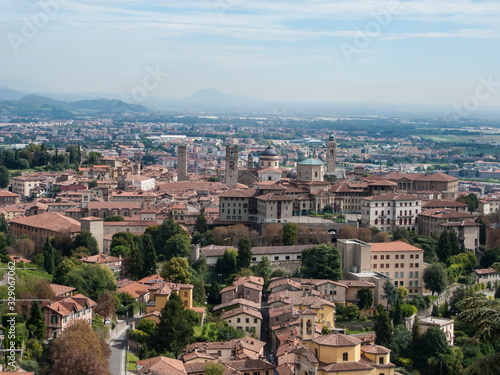 panoramic view of the old town, Apennines and the Padan plain from the hill of S Canvas Print