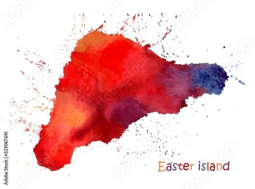 Fotografie, Obraz Watercolor map of Easter island