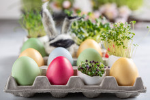 Dyed Multi-colored Eggs And Gr...