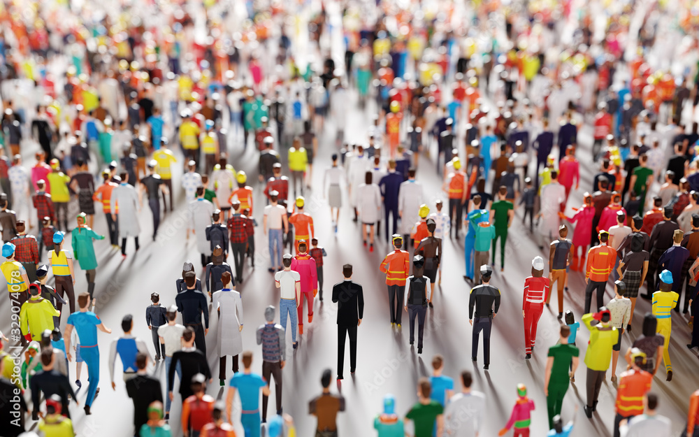 Fototapeta Crowd of people walking in one direction. Low poly style.