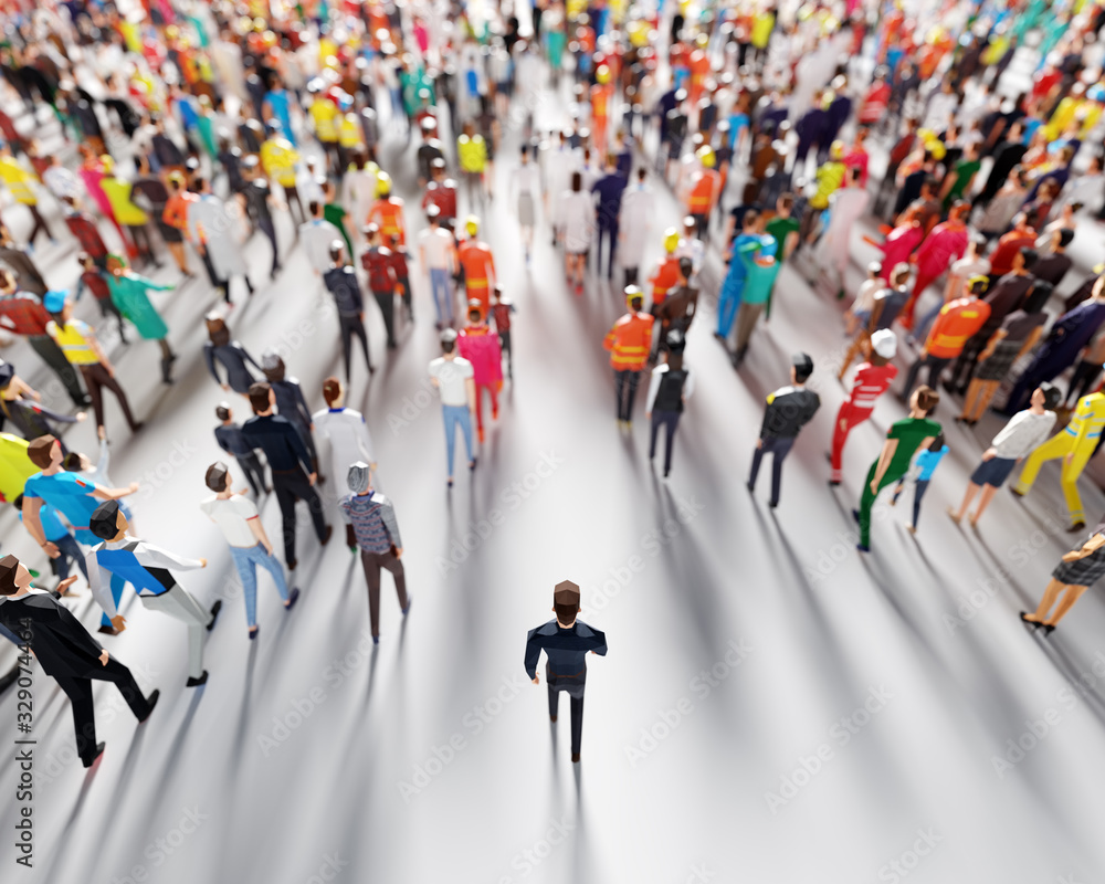 Obraz Businessman following crowd of people. Low poly style. fototapeta, plakat