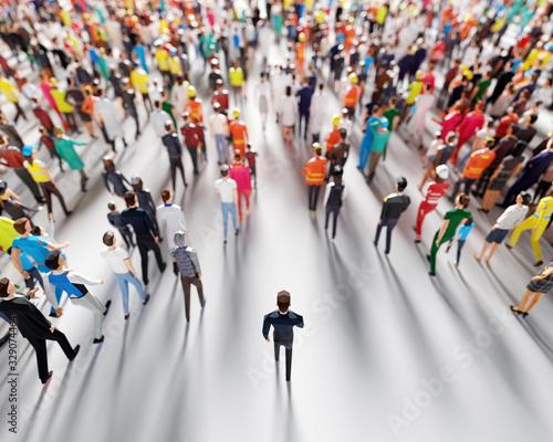 Fototapeta Businessman following crowd of people. Low poly style. obraz