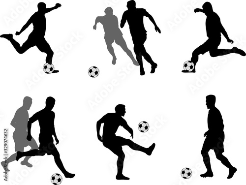 soccer players silhouettes collection Fototapet