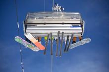 Ski Resort. Skiers Ride The El...