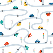 Cute Children's Seamless Pattern With Mini Cars On A White Background. Illustration Of A Town In A Cartoon Style For Wallpaper, Fabric, And Textile Design. Vector