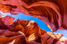View To Spectacular Sandstone Walls Of Lower Antelope Canyon In Arizona