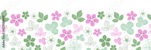 Valokuvatapetti Dewberry Blossom-Flowers in Bloom,Seamless Repeat Classic dewberry blossom leavesl pattern background