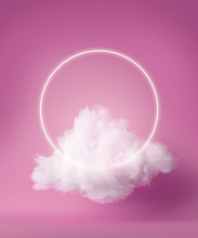 3d Render, White Neon Ring Above Fluffy Cloud Levitating Inside The Studio. Glowing Halo. Blank Round Frame. Isolated Object, Pink Fashion Background, Modern Design, Abstract Metaphor.