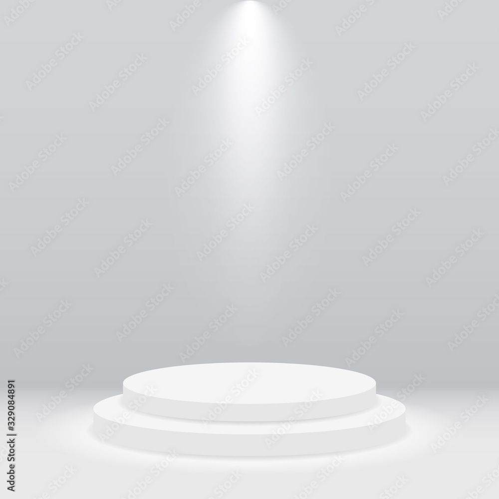 Fototapeta Round white podium, pedestal or platform illuminated by spotlight on gray background. Empty stage with scenic light. Scene and stand for show, presentation, award ceremony, concert and party. Vector