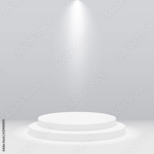 Fototapeta Round white podium, pedestal or platform illuminated by spotlight on gray background. Empty stage with scenic light. Scene and stand for show, presentation, award ceremony, concert and party. Vector obraz
