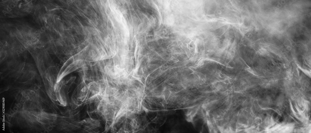 Fototapeta Bannière de fumée blanche sur fond noir