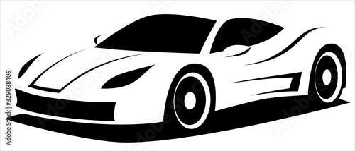 Vector illustration silhouette of the aerodynamic super sports car drawn using black and white lines which can be used as a logo for a company