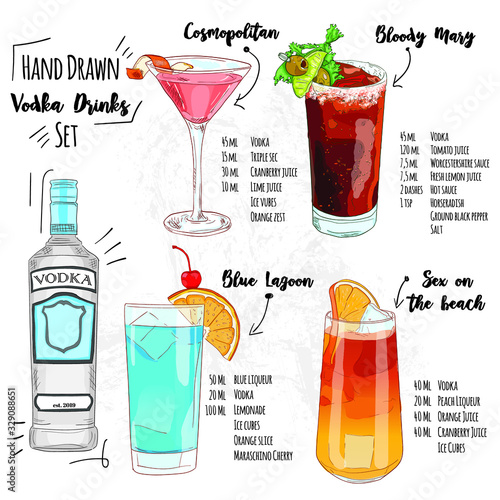 Photo hand drawn vodka drinks set of summer cocktails