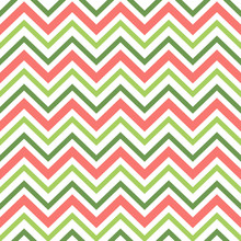 Green Red Seamless Pattern In Zig Zag. Classic Chevron Background. Vector Textile Paper Design