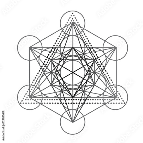 Valokuvatapetti Metatrons Cube, Flower of life, feathers