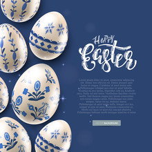 Modern Easter Folk Banner. Eggs With Traditional Floral Pattern.