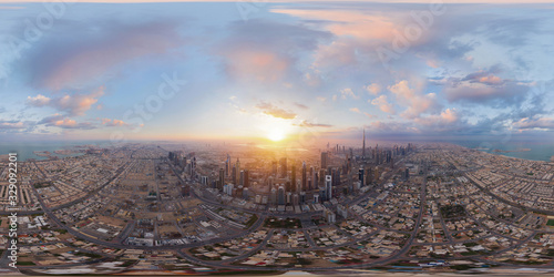 Papel de parede 360 panorama by 180 degrees angle seamless panorama of aerial view of Dubai Downtown skyline and highway, United Arab Emirates or UAE