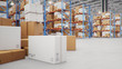 canvas print picture - 3D Illustration packages delivery, parcels transportation system concept, heap of cardboard boxes in middle of the warehouse. Warehouse with cardboard boxes inside on pallets racks. Huge warehouse.