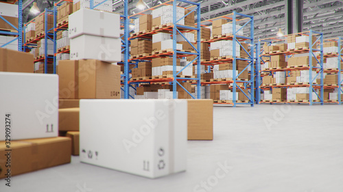 3D Illustration packages delivery, parcels transportation system concept, heap of cardboard boxes in middle of the warehouse Wallpaper Mural