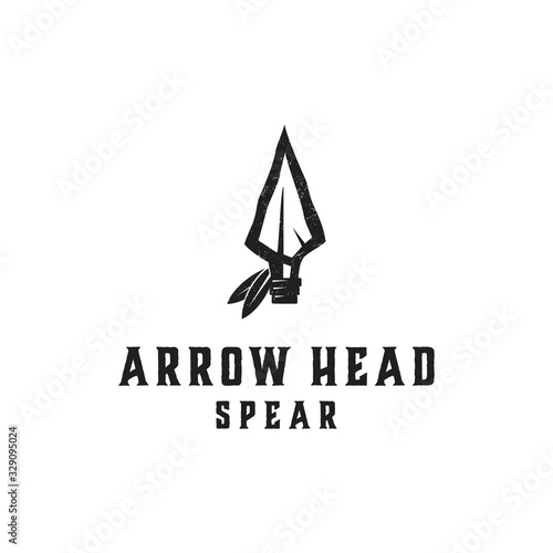 Cuadros en Lienzo Native Indian Spear Arrowhead for Hunting, Hunter Vintage and Hipster Logo Desig