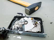 Destroying Computer Hard Drive With A Hammer.