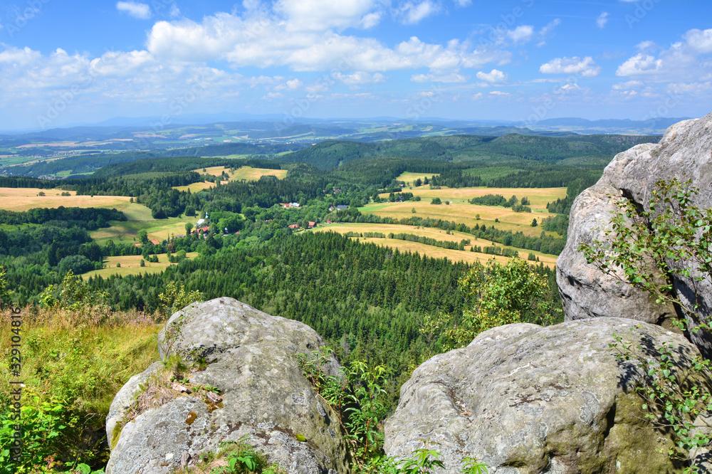 Landscape from Szczeliniec Wielki in Table mountains Poland.