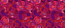 Coloured Skull Polygon Seamless Pattern.