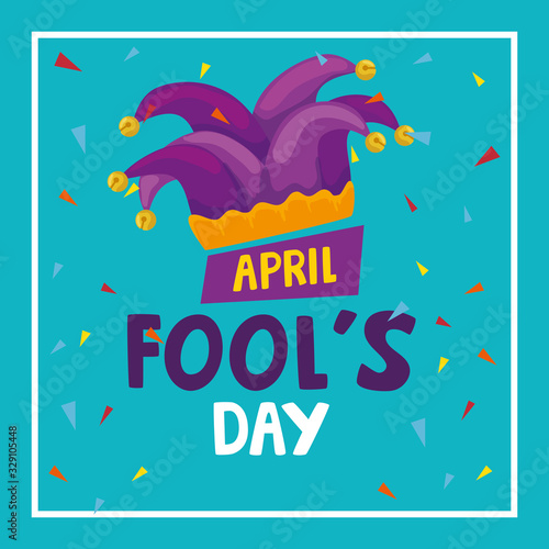 Fotografie, Obraz april fools day with hat buffoon vector illustration design