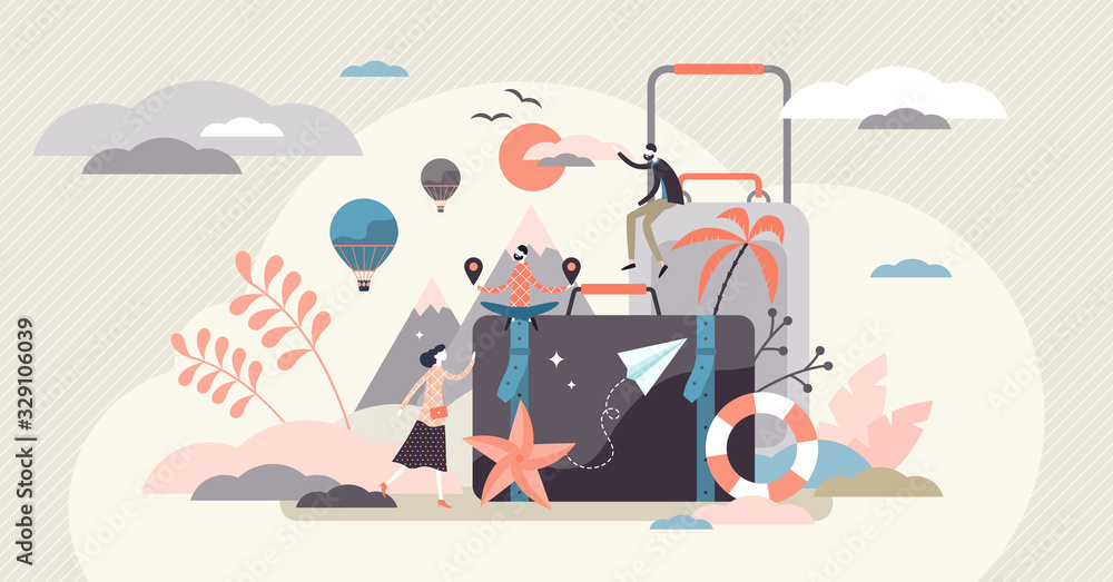 Fototapeta Vacation concept, flat tiny person vector illustration