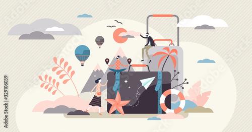 Fototapeta Vacation concept, flat tiny person vector illustration obraz