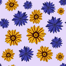 Seamless Repeating Pattern Of Violet And Yellow Flowers