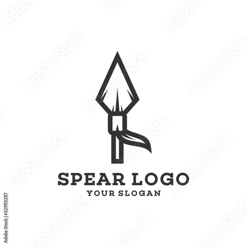 Wallpaper Mural Native Indian Spear Arrowhead for Hunting, Hunter Vintage and Hipster Logo Desig