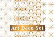 Art Deco Gold Seamless Pattern Isolated Set. Art Deco Pattern Circles On A White Background. Vector Seamless Pattern. Art Deco For Textile, Packaging, Background, Cover, Etc. Eps 10