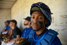 African American Portrait Of Baseball Player