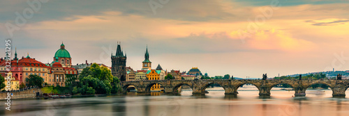 Obraz Charles Bridge, Old Town and Old Town Tower of Charles Bridge, Prague, Czech Republic. Prague old town and iconic Charles bridge, Czech Republic. Charles Bridge (Karluv Most) and Old Town Tower. - fototapety do salonu