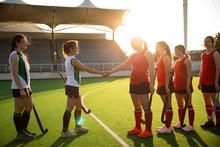 Female Hockey Players Shaking ...