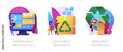 Fototapeta Ecology study and monitoring, sustainable packing, garbage recycling. Environment data analytics, low impact packaging, zero waste technology metaphors. Vector isolated concept metaphor illustrations obraz