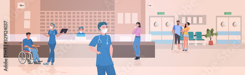 busy nurses station doctors and patients at hospital reception modern clinic hal Wallpaper Mural