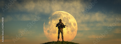 armed soldier guarding Canvas Print