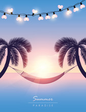 Hammock Between Palm Trees Summer Holiday At Sunset Vector Illustration EPS10