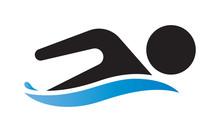 Swim Logo For Application Or Website. Swimming Championship Icon.