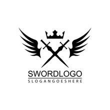 Sword Winged Logo Vector Templ...