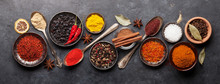 Various Spices In Bowls And Sp...