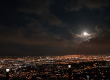 View Of San Jose Valley Illuminated By The Moon.