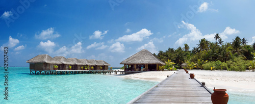 Fototapeta Tropical Island with Palm Trees and Wooden Pier in Indian Ocean on Maldives. obraz